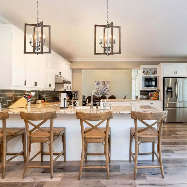 Modern Farmhouse 4 Lights Faux Wood Pendant Lighting Fixture For Kitchen Island Dining Room W16 5 Xh20 On Sale Overstock 29817467