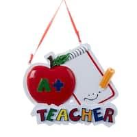 "4"" Multi-Colored Apple ""A+ Teacher"" Decorative Christmas Ornament - multi"