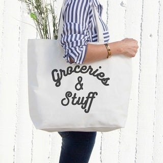 Grocery And Stuff Canvas Bag Christmas Or Mother's Day Gifts Ideas Grocery Bag - White