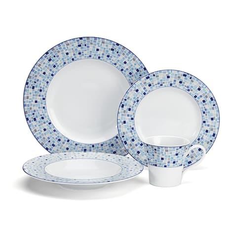 Cuisinart CDP01-S4A Aleria Collection 16-Piece Porcelain Dinnerware Set - Blue