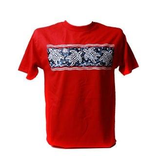 Men's Tropical Turtle Print Cotton T Shirt, Red