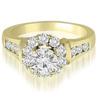 1.75 cttw. 14K Yellow Gold Halo Round Cut Diamond Engagement Ring