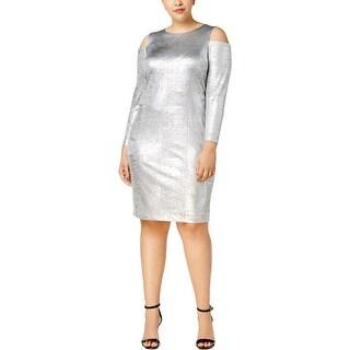 Calvin Klein Womens Plus Party Dress Cold Shoulder Metallic
