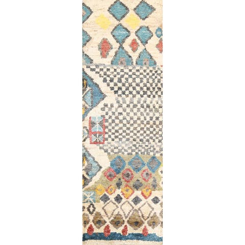 """Abstract Moroccan Oriental Runner Rug Hand-knotted Contemporary Carpet - 2'7"""" x 7'9"""""""