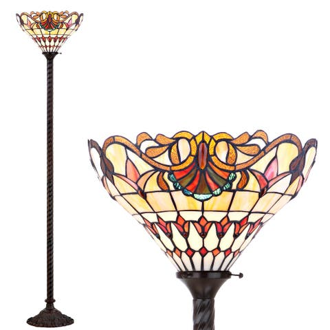 """Davis Tiffany-Style 70"""" Torchiere LED Floor Lamp, Bronze by JONATHAN Y - 70"""" H x 15"""" W x 15"""" D"""