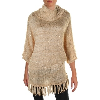 NY Collection Womens Fringe Sequined Poncho Sweater
