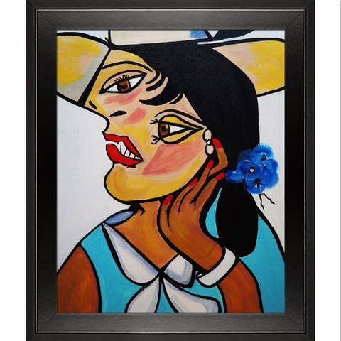 """ArtistBe Picasso by Nora, Yellow Hat with Studio Black Wood Angle Frame, 10.5"""" x 12.5"""""""