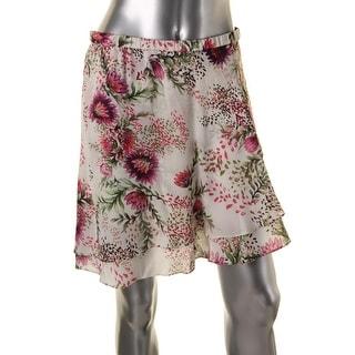 Haute Hippie Womens Silk Floral Print A-Line Skirt - L