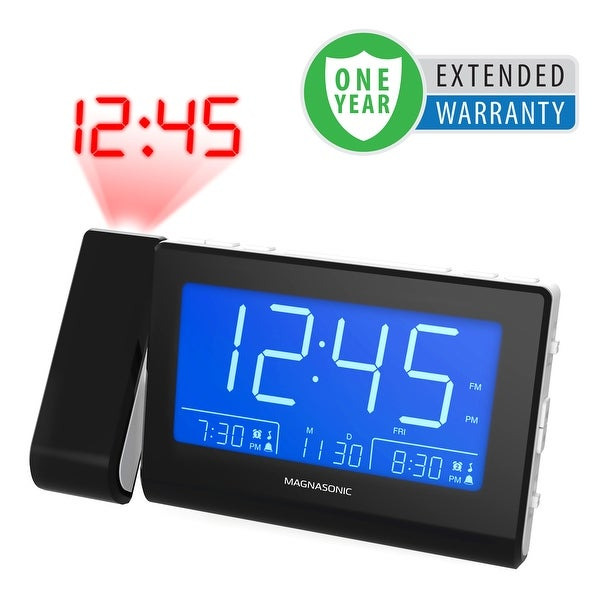 Magnasonic Alarm Clock Radio with USB Charging for Smartphones, Time Projection, Auto Dimming - 1 Year Extended Warranty