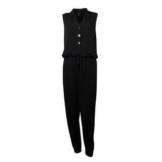 Alfani Women's Chest Pockets Belted Jersey Jumpsuit - Deep Black