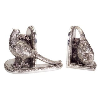 Pack of 4 Ornate Decorative Silver Bird Bookends 6.5""