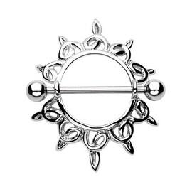 "Surgical Steel Shining Star Nipple Shield Ring - 14GA 3/4"" Long (Sold Individually)"