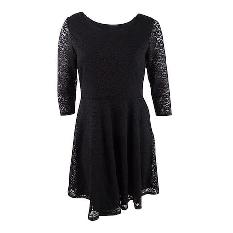 Soprano Women's Trendy Plus Size Lace Fit & Flare Dress (2X, Black) - Black - 2X