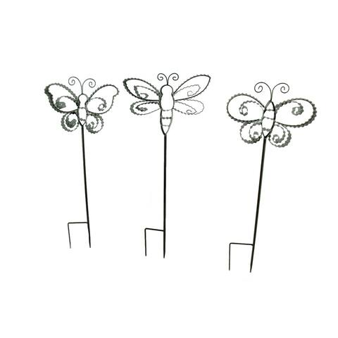 Corrugated Metal Ribbon Butterfly Garden Stakes Set of 3 - 27 X 10.5 X 2 inches