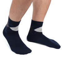 1 Pair Men Navy Blue Argyle Prints Moisturising Soften Cracked Skin Gel Socks