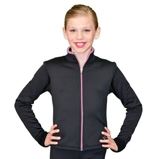 ChloeNoel Black Pink Zipper Ice Skating Jacket Girl 4-Adult XL