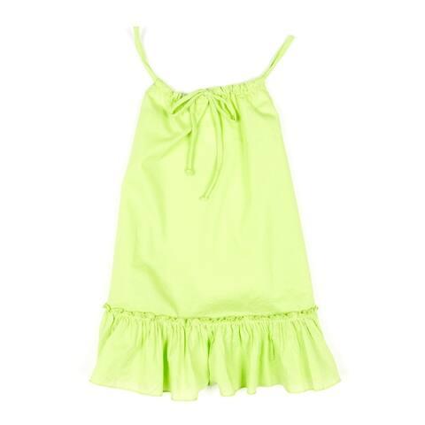 Azul Green Drawstring Spaghetti Sleeveless Ruffle Dress Little Girls