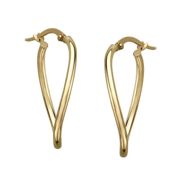 Just Gold Twisting Oval Hoop Earrings in 14K Gold - YELLOW