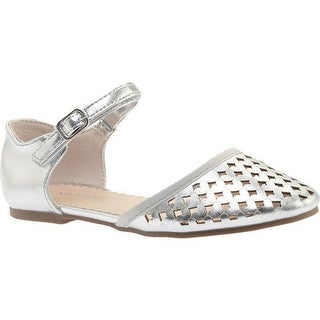 Nine West Kids Girls' Vivien Quarter Strap Sandal Silver Metallic