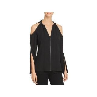 Elie Tahari Womens Jahira Pullover Top Halter Cold Shoulder