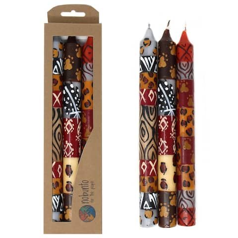 Handmade Dinner Taper Candles Uzima Design, Set of 3 (South Africa)