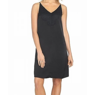 1. State Deep Black Womens Size Large L Lace Insert Slip Dress