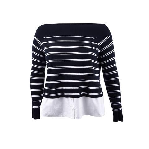 INC International Concepts Women's Plus Size Layered-Look Sweater - Deep Black