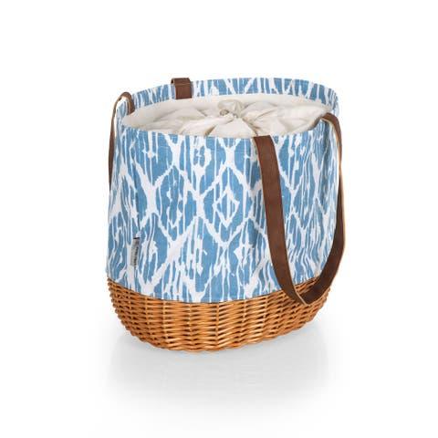 PICNIC TIME Coronado Canvas and Willow Basket Tote, (Moroccan Watercolor Pattern) - 14.17 x 11.42 x 13.4