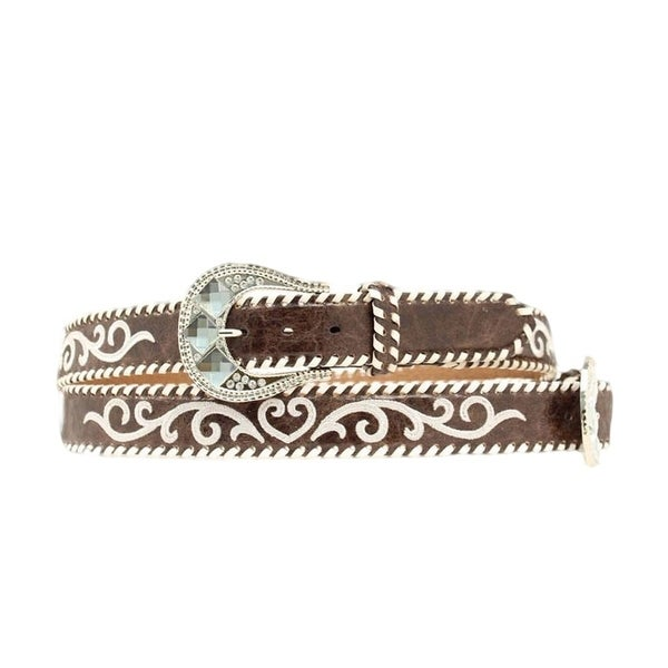 Nocona Western Belt Womens Embroidery Laced Marbled Brown