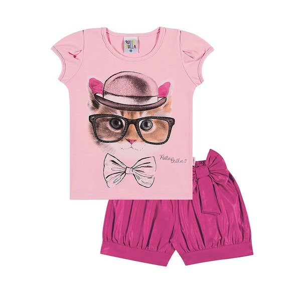 Toddler Girl Outfit Shirt and Pleated Shorts Set Pulla Bulla Size 1-3 Years