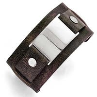 Chisel Stainless Steel Dark Brown Leather Polished Buckle Bracelet