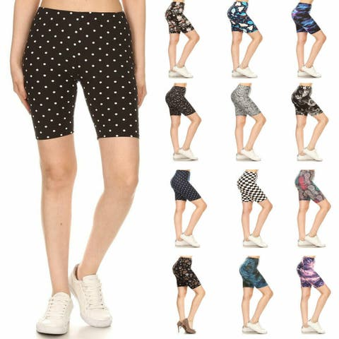 NioBe Clothing Womens High Waist Soft Graphic Print Fashion Biker Shorts