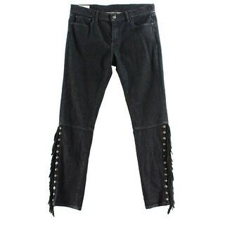 Polo Ralph Lauren NEW Black Women's Size 30X30 Fringe Skinny Jeans