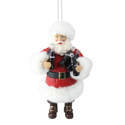 4.75 Santa Claus Holding Coca-Cola® Bottles Christmas Ornament - N/A