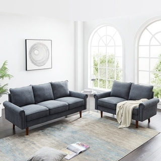 Link to 2 Piece Standard Living Room Set Wooden Frame Couch Similar Items in Living Room Furniture Sets