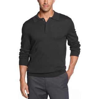 Club Room Estate Merino Wool Blend Polo Sweater Small Ebony Charcoal