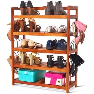 Costway 5-Tier Wooden Shoe Rack Shelf Storage Organizer Entryway W/ 6 Shoe Stretcher - as pic