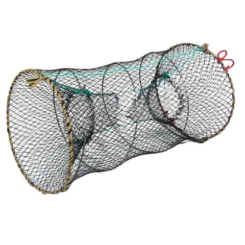 "Unique Bargains 10"" x 17.7"" Nylon Metal Portable Fishing Landing Net Fish Angler Mesh Keepnet for Fishermen Dark Gray"