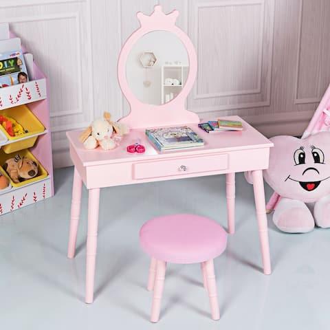 Gymax Kids Vanity Makeup Table & Chair Set Make Up Stool Play Set for