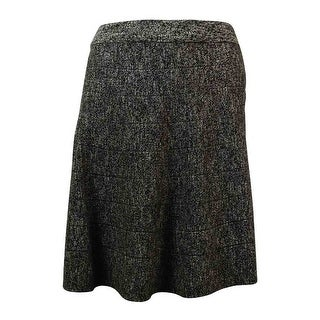 Studio M Women's Elastic Waist Knit Flared Mini Skirt - Black/Cream - S