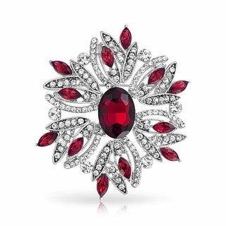 Bling Jewelry Holiday Wreath Pin Imitation Emerald Garnet Rhodium Plated