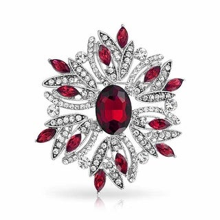 Bling Jewelry Holiday Wreath Pin Imitation Emerald Garnet Rhodium Plated