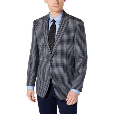 Tommy Hilfiger Mens Sportcoat Plaid Modern Fit - Light Grey/Blue