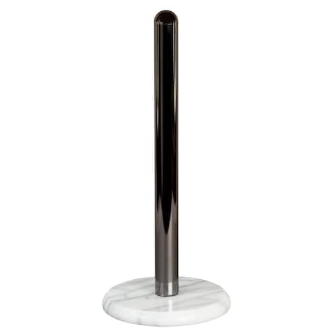 Creative Home White Marble Upright Paper Towel Holder w/Metal Pole