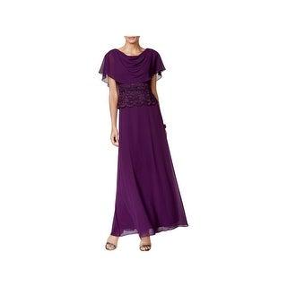 Jessica Howard Womens Evening Dress Cape Sleeves Full Length