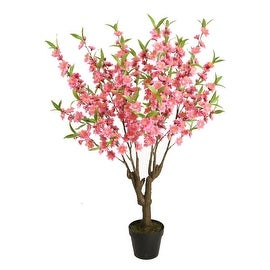 """43.5"""" Potted Decorative Artificial Pink Green and Brown Peach Floral Blossom Tree"""