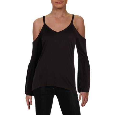 Chaser Womens T-Shirt Destroyed V-Neck - XS