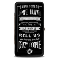 Supernatural Dean Crazy People Quote Winchester Pentagram Black Grays Hinge Wallet - One Size Fits most
