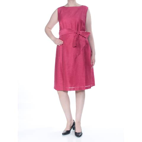 ANNE KLEIN Womens Red Front-tie Striped Knee Length Cocktail Dress Plus Size: 18W