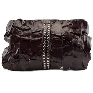 BE&D D Ruffle Kan-Kan Portfolio    Patent Leather  Evening Bag - Red